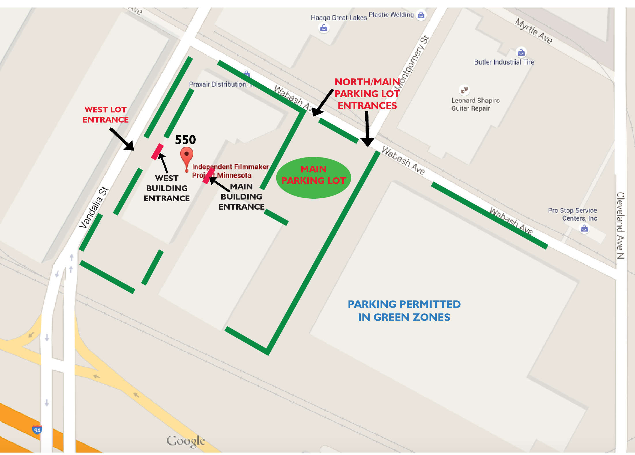 FilmNorth Parking Map